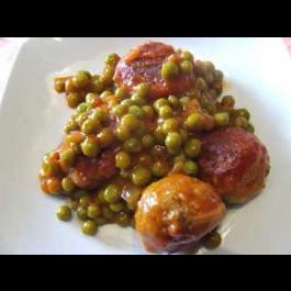 Mandonguilles de seitan amb pèsols